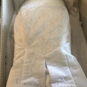 White beaded wedding dress